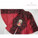 Parade jet black cape with embroideried image